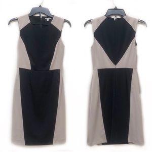 Halogen Colorblock Tan Black Sheath Career Dress